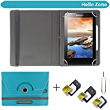 """Hello Zone With Free Sim Adapter Kit I KALL N5 4G VOLTE Calling Tablet 360° Rotating 7"""" Inch Flip Case Cover Book Cover -Sky Blue"""