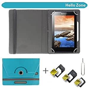 """Hello Zone With Free Sim Adapter Kit Domo Slate X15 360° Rotating 7"""" Inch Flip Case Cover Book Cover -Sky Blue"""