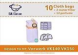 Sacca antipolvere in tessuto ingranaggio GL per aspirapolvere VK140 VK150 Kobold Vorwerk, 10 pacchi in microfibra + 2 filtri di protezione motore + 2 Deodorante