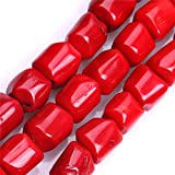 Sweet & Happy Girl'S Store 13-14mm Column Gemstone Red Coral Beads Strand 15 Inch Jewellery Making Beads