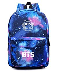 GORDESC 1 UNID BTS Suga RapMonster Mochila Escolar BTS Starry Sky Mochila Creativa Kpop Mochila Lienzo Galaxy Stars Impresión Bolsa de Almacenamiento Material: Lienzo (azul, BTS)