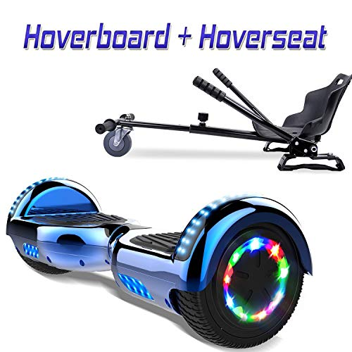 COLORWAY 6.5inch Hoverboard with Bluetooth Balance Electric Scooter Scooter E-skateboard with LED wheel (blue-kt-black)