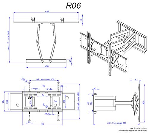 """RICOO Wandhalterung TV Schwenkbar Neigbar R06 Universal LCD Wandhalter Ausziehbar Fernseher Halterung für Curved 4K OLED Flachbildfernseher 102-190 cm/ 40\""""-75\"""" Zoll / VESA 400x400 600x400 / Schwarz"""