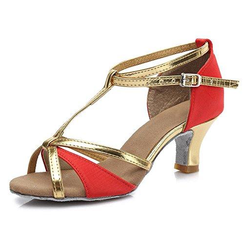 YFF Ragazze donne sala da ballo del tango latino della salsa scarpe da ballo 5cm e 7cm di tacco Red 5cm
