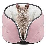 ODJOY-FAN Haustier Katzennest Kätzchen Katzen Bett Matte Super Weich Warm Zwinger Kennel Wildleder Warm Halb geschlossen Umgeben Hunde Haus 40 x 28 cm(Rosa,1 PC)