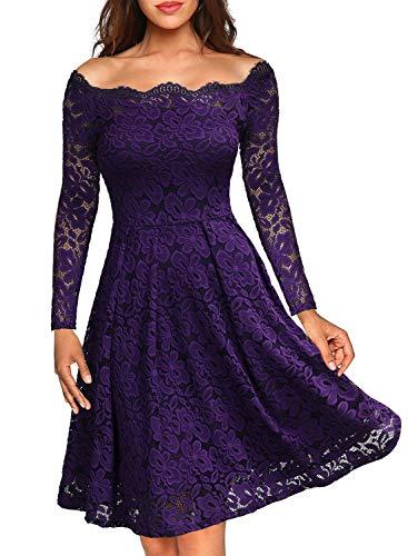Miusol Damen Vintage 1950er Off Schulter Cocktailkleid Retro Spitzen Schwingen Pinup Rockabilly Kleid Lila Gr.S (Günstige Pin Up Kleider)