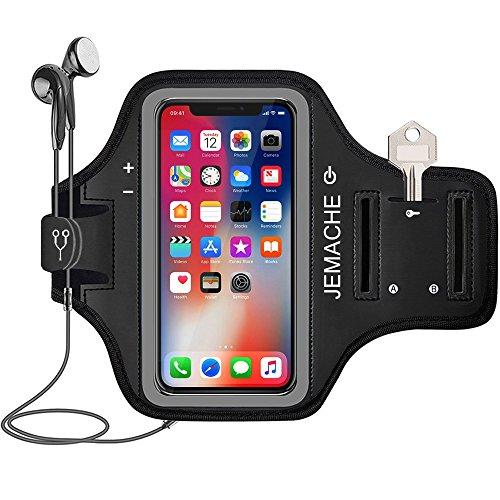 iPhone X Brassard, JEMACHE Course/Jog/Ride/Exercice/Entraînement Sport Gym Arm Band Coque pour iPhone X/10 avec Poches pour Cartes et clé Logement (iPhone X, Noir)