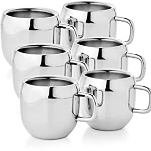 Verow Double wall Stainless steel Apple Tea & Coffee Cups ,Set of 6, 100 ML