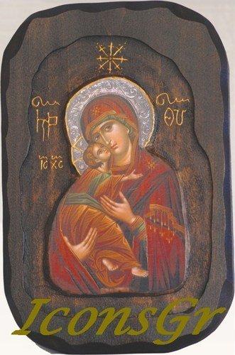 IconsGr Symbol aus Holz handgefertigt, Christliche Orthodoxe Griechische, Representant Jesus Christus und die Jungfrau Maria/O3