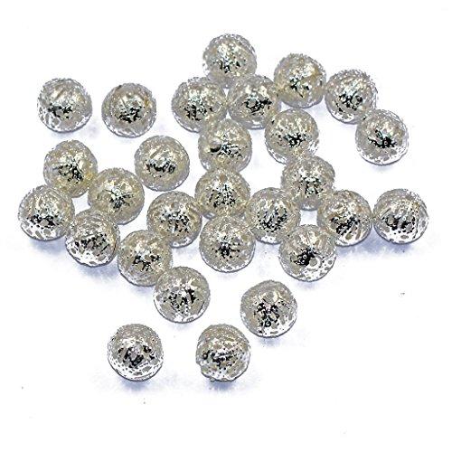 50pz 10 mm Perle Tonde Di Metallo Distanziatore Gioielli Fai Da Te Facendo Fascino Allentato Argento