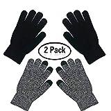aiuxuan Guanti lavorati a maglia tattili caldi invernali unisex per uomo donna guanti caldi a maglia spessa (nero + grigio)