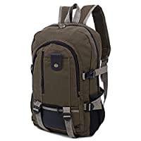 EbuyChX Canvas Zipper Ladder Lock Outdoor Activity Men Portable Backpack Brown Vertical