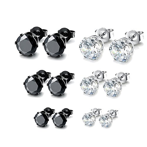 Besjewel Stud Earrings Set 3mm-5mm Hypoallergenic Surgical Stainless Steel Earings for Mens Womens, 6 Pairs