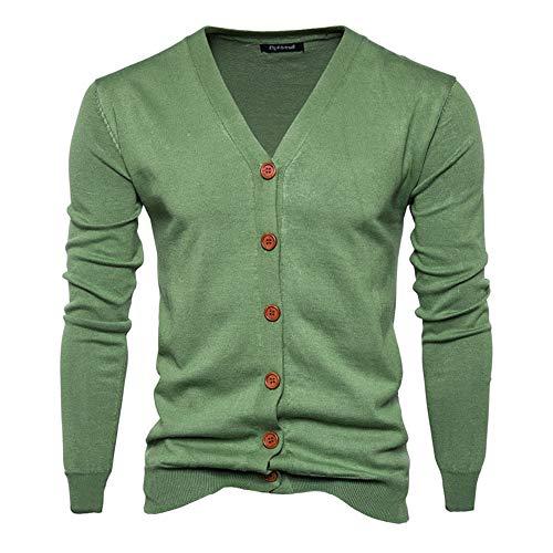 Herrbar Herren Strickjacke V-Ausschnitt Cardigan Baumwollemischung Knopfleiste  (Army grün, L)
