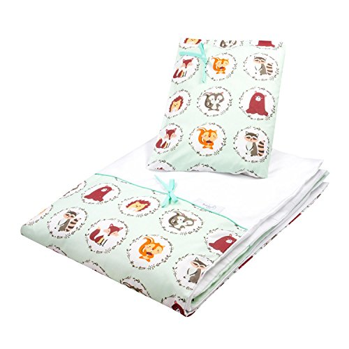 Dkaren 2 teiliges Bettwäsche-Set aus 100% Baumwollsatin für Ihren Kleinen (40x60/90x120, Freunde)