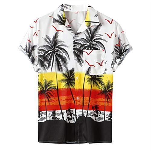 BHYDRY Männer Hawaiianischer Stil Kurzarm Bedruckt Freizeit Urlaub Top Shirt (Large,Weiß) -