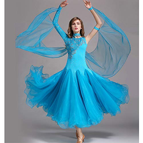 QMKJ Frauen Latin Dance Kostüme Bauchtanz Rock blau handgefertigte Pailletten Ballroom Dancing Kostüme Full Rock Hemden Moderne Mode 2018 XL 2XL,XXL