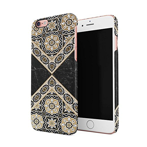 Rose Gold Moroccan Ornaments On Black Marble Dünne Rückschale aus Hartplastik für iPhone 6 & iPhone 6s Handy Hülle Schutzhülle Slim Fit Case cover Black Gold Mosaic