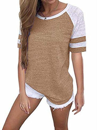 Famulily Damen Kurzarm Baseball T-Shirts Gestreifter Colorblock(EU36,Khaki) (Lieblings-khaki)
