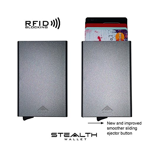 [NEW ARRIVAL] Aluminium RFID Blocking Credit Card Holder Ejector Wallet by STEALTH (Grey)