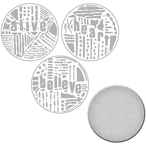 Spellbinders parola cerchi 2Seth apter timbro e Set di fustelle, Multicolore - Avviso Stamp