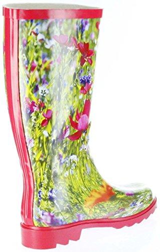 Conway Gummistiefel rot Regenstiefel Damen Stiefel Schuhe Blumenwiese Rot