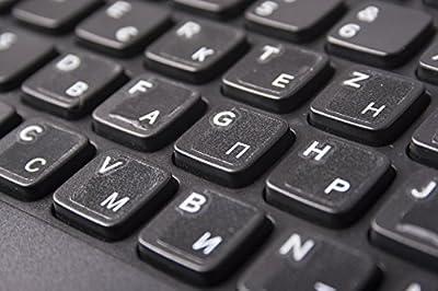 Russische Tastaturaufkleber, transparent mit Schutzschicht, weiße Buchstaben