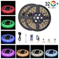 Led Strip Light 5050 Flexible Lights Changing RGB Waterproof Lighting with IR Remote Cotroller 44keys and Power Adapter for Home Kitchen TV DIY Party Decoration …