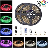 5050 Led Strip Lights 32 8 ft 10M 600 LEDs RGB Colour Changing Outdoor Waterproof Ip65 Kit with 12v Power Supply 44key Remote and Receiver for Christmas Kitchen Wall Mirror Home Decoration Lighting