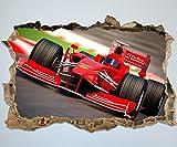 wandmotiv24 3D-Wandsticker Formel 1 Aufkleber Mauerdurchbruch M0382 Design 01 - Mittel