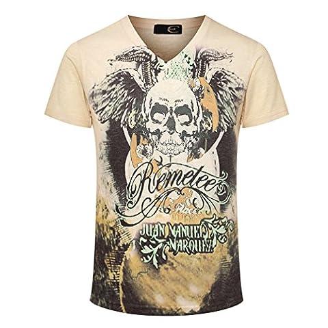 Dilize Men's Awsome 3D Skull Print V Neck Summer DJ Club T Shirt Beige M