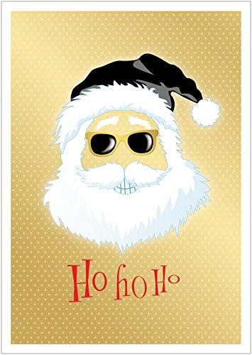 Ho, Ho, Ho Coole lustige Hipster Weihnachtskarte Retro Gangster zu Weihnachten mit Weihnachtsmann/Nikolaus, Brille, Mütze in Schwarz/Gold Gelb (Mit Umschlag) (8)