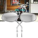 8mm Specchietti Laterali Moto per Sportster 1200 XL883 Dyna Softail Fatboy Road Glide Rocker (#2-Cromo)