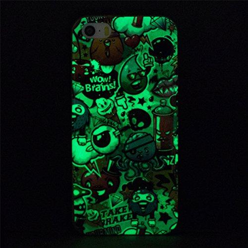 iPhone 5S Hülle, iPhone SE Hülle, Gift_Source [ Pfirsich Blume ] Hülle Case Transparent Weiche Silikon Schutzhülle Handyhülle Schutzhülle Durchsichtig TPU Crystal Clear Case Backcover Bumper Case für  E1-Beeindruckend ! Gehirn