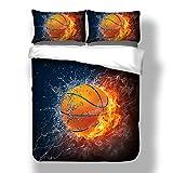 Bettwäsche Set 3D Hot Basketball Leidenschaftlicher Sport Schwarzer Hintergrund Gedruckt Bettbezug Mit Kissenbezug Weiche Bettwäsche für Jungen (220x240cm)