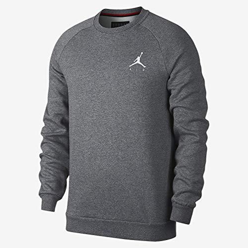 Nike Herren Jumpman Fleece Crew Sweatshirt L Carbon Heather/White