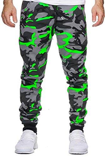 Herren Jogginghose Trainingshose Sporthose Fitness im Camouflage Design  Sweat Freizeithose Jogger Sportswear (M, 794(Grün))