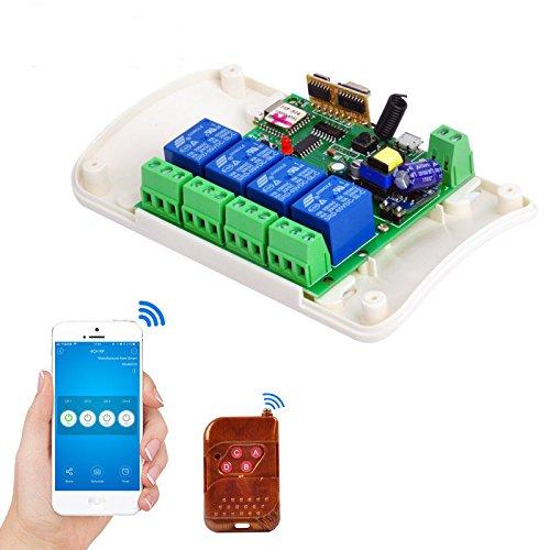 MHCOZY WiFi Wireless Inching Relais Haupt/Selbstsichernde Switch Modul DIY Smart Home Fernbedienung DC 5-32V Ewelink App Kompatibel mit Alexa Echo Google Startseite (4 Kanäle)