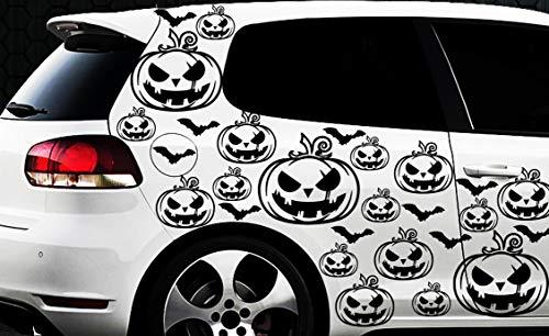 HR-WERBEDESIGN 99x Hexe Sterne Auto Aufkleber Wandtattoo Hexenkutsche Gothic Halloween Kürbis