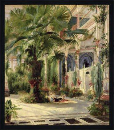 Bild mit Rahmen: Karl Blechen, 'Interior of the Palm House at Potsdam, 1833', 58 x 66 - Holz Fortuna...