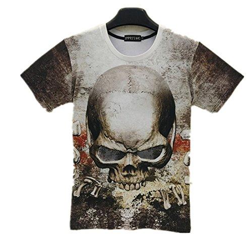 Yonbii Herren T-Shirts hoodies Short Sleeve 3D weiß bedruckt Totenkopf Shirt Skull-3