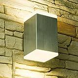 LED Wandleuchte CUBE, Außenleuchte, Außenlampe, Edelstahl, IP44, 230V, Warmweiß (2-Flammig)