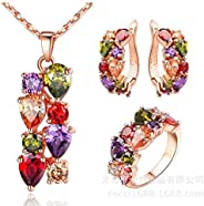 Best Gift Colorful Jewelry Sets Cubic Zircon Hypoallergenic Rose Gold color Necklace/Earrings/Ring Wedding Jew