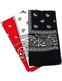 2cf736b75df7 Trebien 3pcs Bandanas Original Paisley 100% Coton Multicolore Cheveux  Bandeau Bandannas Foulard Fichu Mouchoir Echarpe