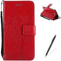 For MAGQI funda Samsung Galaxy J530/J5 2017 (EU Version) Ranuras para Tarjetas y Billetera Soporte Plegable Hebilla Magnética Protección completa ultra delgado Gato y árbol - rojo
