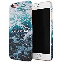 Ocean Waves Alien Emoji Hard Thin Plastic Phone Case Cover For iPhone 6 Plus & iPhone 6s Plus