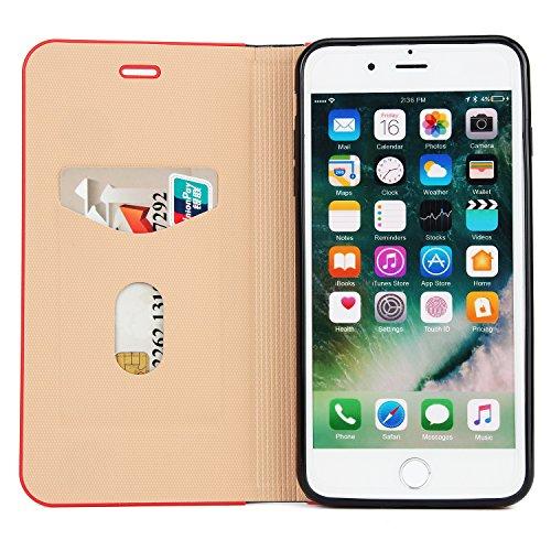 Coque iPhone 7,Coque iPhone 7 Plus, Coque iPhone 6/6S, Coque iPhone 6Plus/6S Plus, Coque iPhone 5/5S/SE, [Porte-cartes] étui Protection en Cuir Portefeuille multi-Usage Housse Rabattable(LXT-08) B