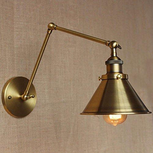 YJNB Loft Retrò Lampada Da Parete Ferro E27 Vintage Luce Da Parete Paralume In Bronzo (2 Ferro Loft)