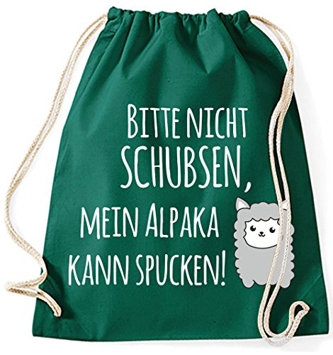 Mein Zwergenland Jutebeutel Mein Alpaka kann spucken!, 12 L, Schwarz Bottle-Green