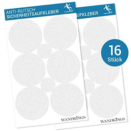 WANDKINGS Anti-Rutsch-Sticker, 12 Klebepunkte à 10 cm & 4 Punkte à 5 cm Ø für Sicherheit in Badewanne & Dusche